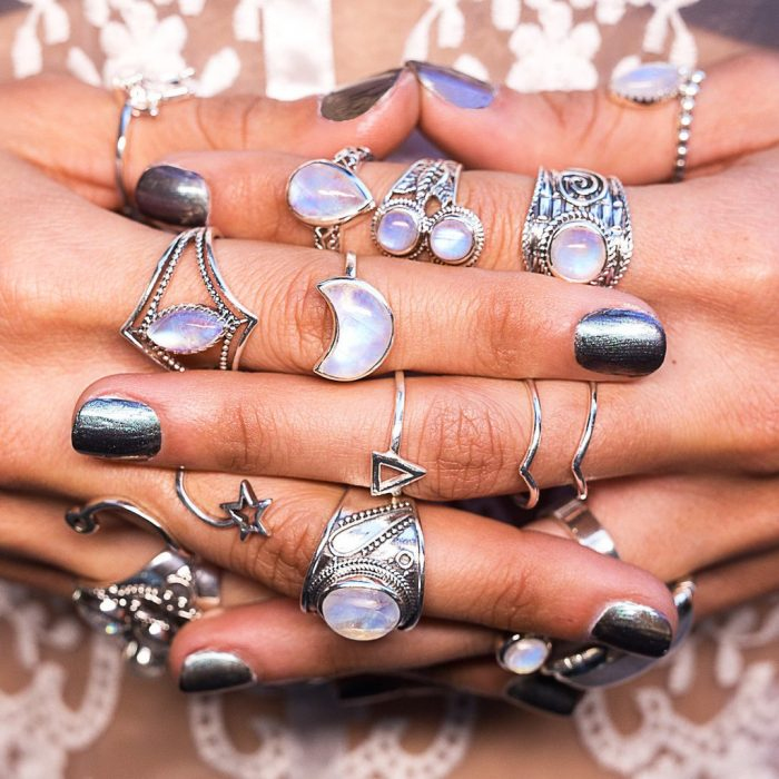 Moonstone Rings from Moon Magic jewelry