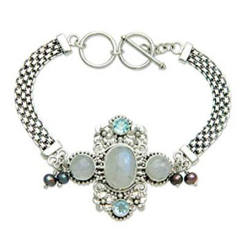 NOVICA Cultured Peacock Pearl and Moonstone .925 Sterling Silver Bracelet 'Regal Gianyar', 7-7.5""