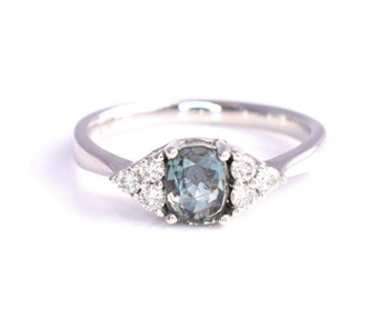 Mai Design natürlichen zertifizierten Alexandrit Diamant Cocktail Verlobungsring 1,01 cttw Farbwechsel grün lila Kissen 14 Karat Weißgold