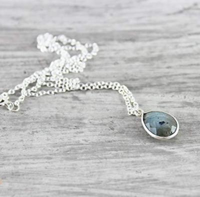 "Labradorite Gemstone Sterling Silver Necklace - 16"" Length"