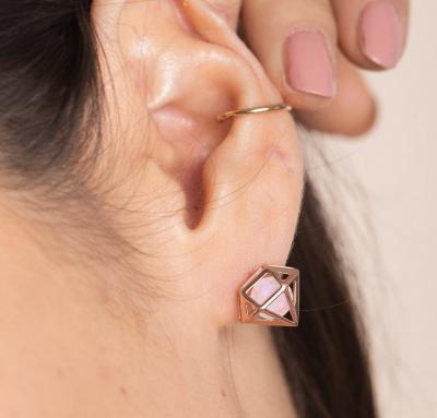 3. Opal Rose Gold Vermeil Earrings - Diamonds