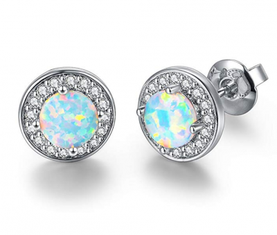 DwearBeauty White Gold Plated Stud Cubic Zirconia and Opal Earrings (Round-Shape White Gold)