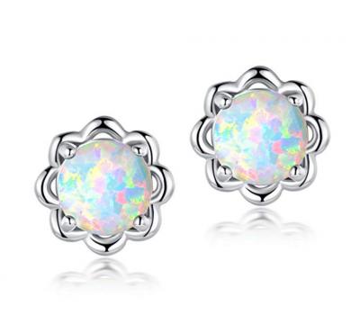 Round Opal Flower Studs