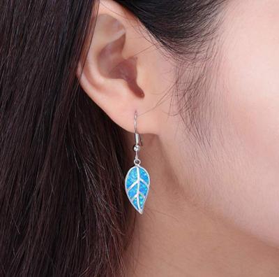 Opal Leaf Dangle Earrings