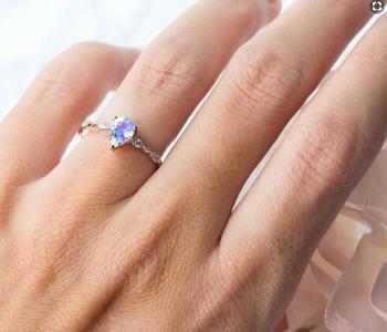 14kt Solid Rose Gold Moonstone Diamond Ring - Promise