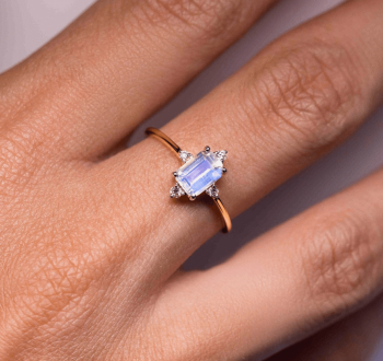 Solid 14kt Yellow Gold Moonstone Ring with Diamonds - Royalty
