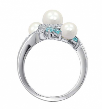Platinum-Plated Sterling Silver Freshwater Pearl Bypass Ring made with Swarovski Zirconia