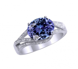 Jewel Zone US Simulated Alexandrite and White Cubic Zirconia Fashion Ring in 14k Gold Over Sterling Silver (3 Cttw)