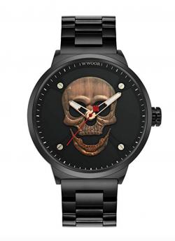 3D Skull Watch 50M Waterproof Steel Wrist Watch for Men WR67