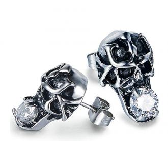 Aooaz Jewelry Stud Earrings For Men Stainless Steel Skull Earrings Silver