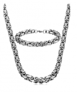 style Stainless Steel Male Chain Necklace Mens Bracelet Jewelry Set, 8mm Wide, 8.5 inch 22 24 30 inch