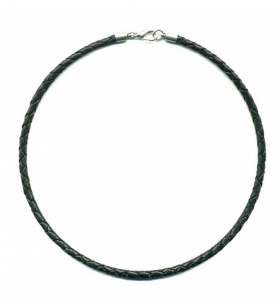 """Black Braided Leather Cord Necklace 3mm - Sterling Silver Clasp and Length Choice up to 30"""" (15"""") by Greek Crafts"""