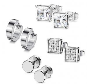Udalyn 4 Pairs Stainless Steel Earrings Set Hoop Earrings CZ Stud Earrings Barbell Earrings For Men
