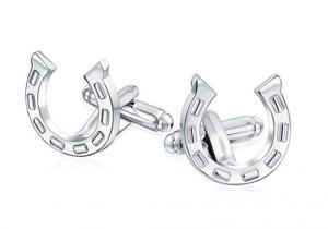 Bling Jewelry Good Luck Horse Shoe Equestrian Cowboy Shirt Cufflinks For Men Graduation Gift Silver Tone Brass Steel Hinge Back