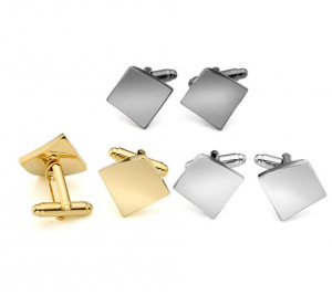 Zysta Irregular Curved Twisted Square Mirror Finish Cufflinks Set Silver Gold Black Bullet Back Secure Closure Button Luxury Elegant