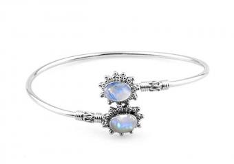 11.00gms, 4.75ct Genuine Rainbow Moonstone .925 Silver Overlay Handmade Fashion Cuff Bangle Jewelry