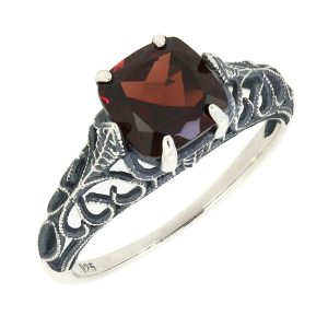 BL Jewelry Antique Finished Sterling Silver Cushion Cut Genuine Mozambique Garnet Filigree Ring