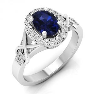 Dazzlingrock Collection 10K Gold Oval Cut Blue Sapphire & Round Cut Diamond Bridal Split Shank Halo Engagement Ring