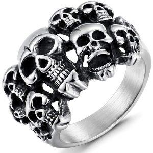 FIBO STEEL Stainless Steel Rings for Men Women Multi Skull Head Rings,Size 8-14