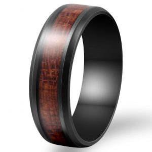 Fashion Month Mens 8mm Black Stainless Steel Ring Vintage Wedding Engagement Promise Band KOA Wood Inlay Comfort Fit