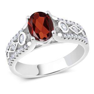 Gem Stone King 1.76 Ct Red Garnet 925 Sterling Silver Engagement Ring