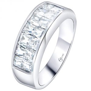 Sterling Silver .925 Ring Band with Cubic Zirconia (CZ) Stones, Platinum Plated Jewelry. for Men, Women