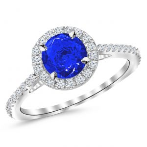 1 05 Ctw 14K White Gold Classic Round Diamond Engagement Ring Carat Blue Diamond