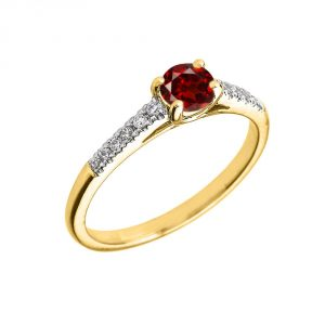 0K Yellow Gold Diamond and Garnet Engagement Proposal Ring