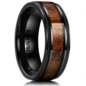 King Will Nature 8mm Titanium Ring with Wood Inlay Wedding Band Ring Real Comfort Fit