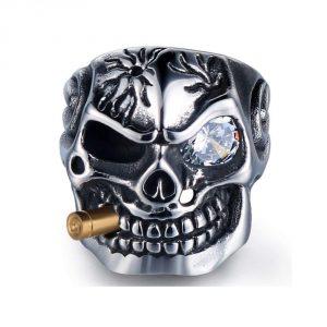 HanTian Stainless Steel Skull Ring Rock-Loving Punk-Men's Ring