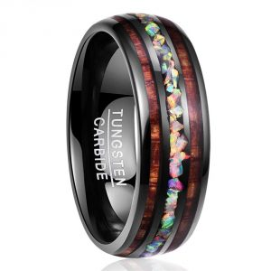 NUNCAD Handmade Genuine Crushed Fire Opal Tungsten Wedding Ring with Hawaii Koa Wood Domed Black Size 6-14