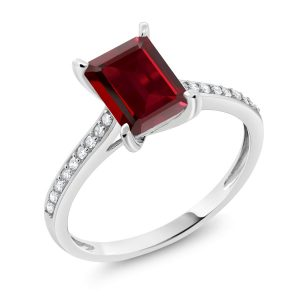 Gem Stone King 10K White Gold Red Garnet and White Diamond Women's Engagement Ring (2.08 Ct Emerald Cut Available