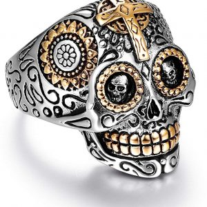 LAOYOU Sugar Skull Rings for Men Women, Stainless Steel Day of The Dead Gothic Cross Mens Jewelry, Womens Biker Cool Ring