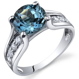 London Blue Topaz Solitaire Style Ring Sterling Silver 2.25 Carats Sizes 5 to 9