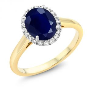 Gem Stone King 10K Two-Tone Gold Oval Blue Sapphire and Diamond Halo Engagement Ring 2.50 Ct (Available 5,6,7,8,9)