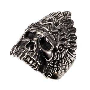 PAURO Cool Feather Dayak Indian Headdress Punk Skull Stainless Steel Mens Boys Ring