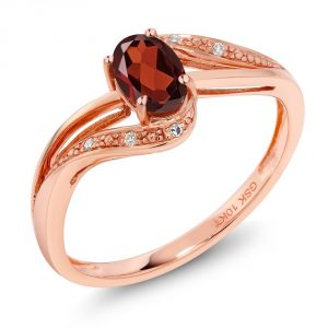 Gem Stone King 10K Rose Gold Red Garnet and Diamond Women's Engagement Bypass Ring 0.54 Ct Gemstone Birthstone Available