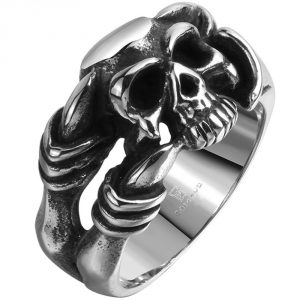 Men's Stainless Steel Dragon Claw Skull Ring Band Vintage Fashion Gothic Biker Punk Rock Silver Black