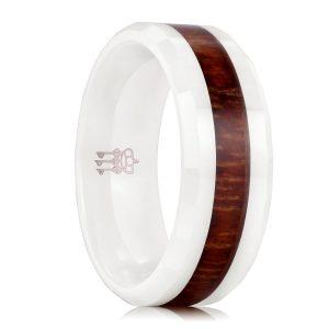 Three Keys Jewelry 8mm White Ceramic Wedding Ring with Hawaiian Koa Wood Inlay Men's Wedding Band Engagement Ring