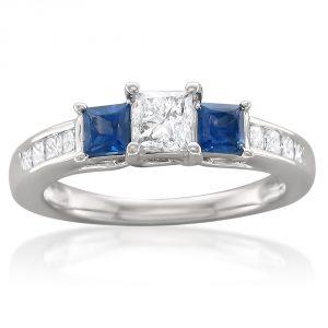 14k White Gold Princess-cut Three-Stone Diamond & Blue Sapphire Engagement Ring