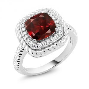 Gem Stone King 925 Sterling Silver Red Garnet Women's Engagement Ring 2.74 Ct Cushion Cut Gemstone Birthstone