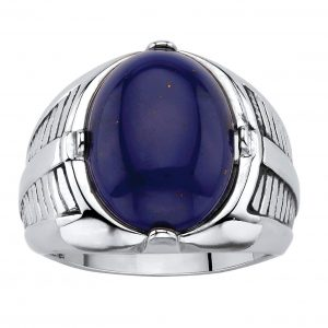 Seta Jewelry Men's Oval-Cut Genuine Blue Lapis Platinum-Plated Etched Cabochon Ring