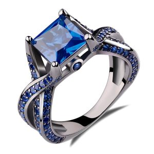 Caperci 2.0ct Princess Cut Created Blue Sapphire Engagement Ring 14k Black Gold Plating Sterling Silver 925 Ring