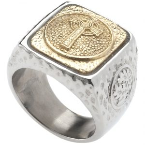 Celtic Cross Signet Ring. Platinum Style Surgical Stainless Steel with 18kt Gold Plating. Comfort Fit