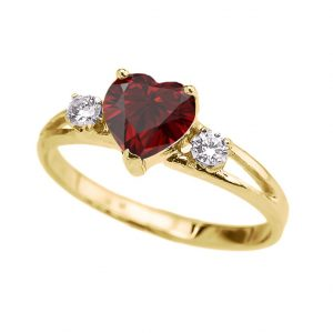 Precious 14k Yellow Gold Garnet Heart Proposal Promise Ring with White Topaz
