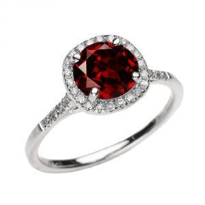 Dainty 10k White Gold Halo Diamond and Garnet Centerstone Engagement Proposal Ring