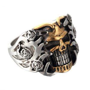 PAURO Men's Stainless Steel Skull Kito Head Punk Vintage Style Ring