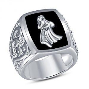 TVS-JEWELS Black Enamel White Platinum Plated 925 Sterling Silver Aquarius Zodiac Sign Men's Ring