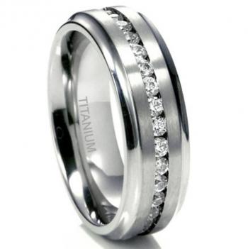 Sz 11.0 Men's 7MM Eternity Titanium Ring Wedding Band with CZ