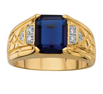 Palm Beach Jewelry Men's Emerald-Cut Lab Created Blue Sapphire and Diamond Accent